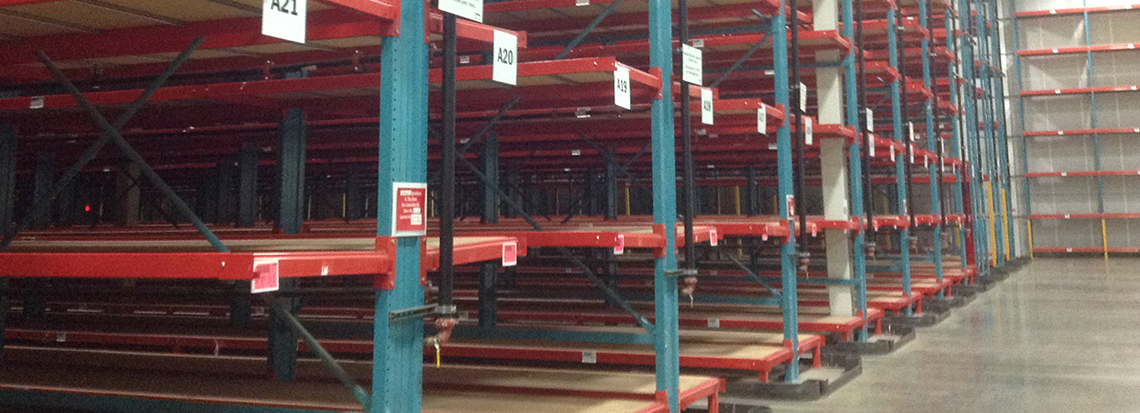 A warehouse filled with got-rack new cantilever racking