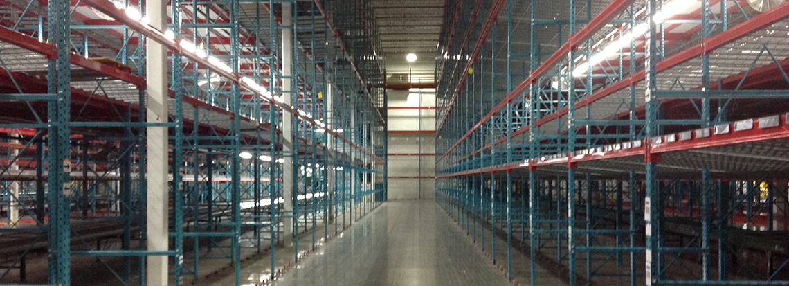 a warehouse filled with got rack used pallet rack
